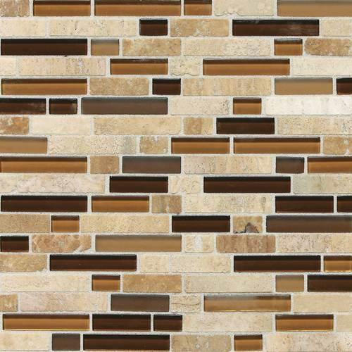 Stone Radiance Caramel Travertino Random Mosaic Blend SA58