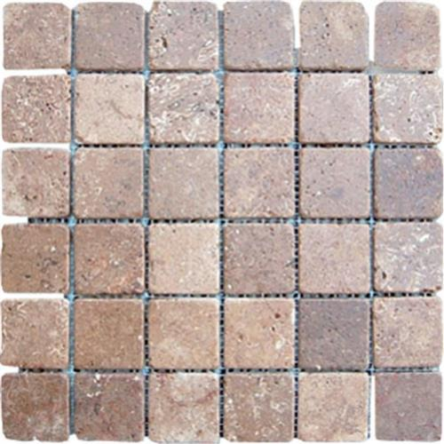 Mexican Travertine Chocolate Chocolate - 2X2 Mosaic