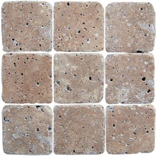 Mexican Travertine Chocolate Chocolate - 4X4 Mosaic