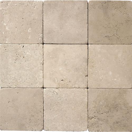 Mexican Travertine Crema Imperial Venato Crema - Imperial 4X4 Mosaic