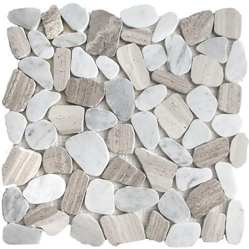 River Rock Contemporary Blend Sliced Mosaic