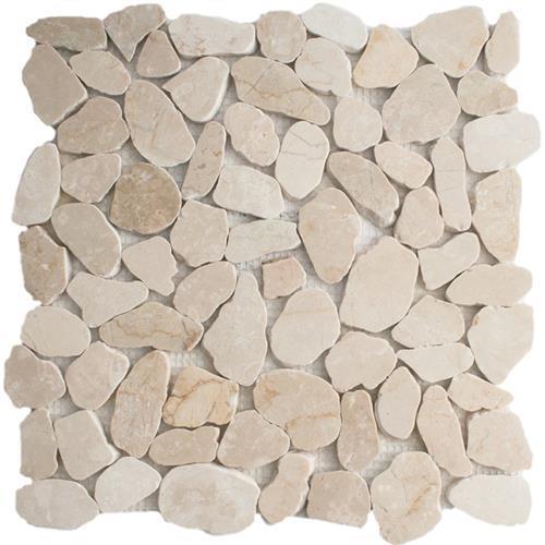 River Rock Crema Marfil Sliced Mosaic