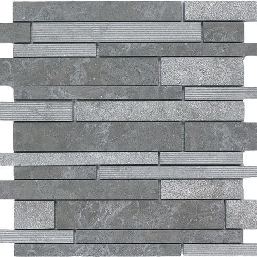 Limestone  Blue Lagos 12X12 Hi/Lo Linear Mosaic
