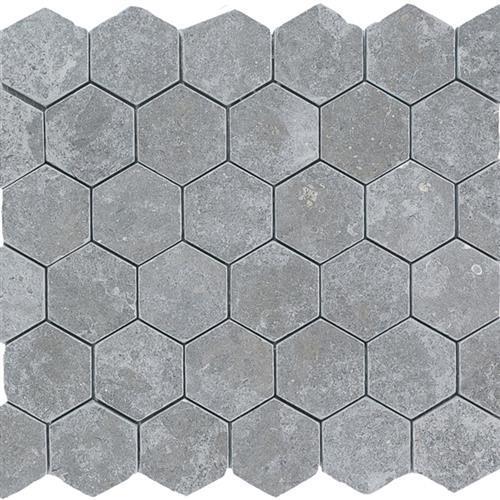 Limestone  Blue Lagos 2X2 Suede Hexagon Mosaic