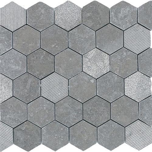 Limestone  Blue Lagos 2X2 Hi/Lo Hexagon Mosaic