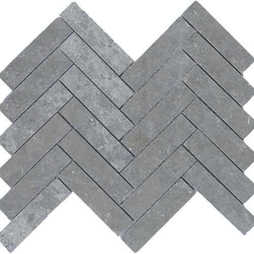 Limestone  Blue Lagos 1X4 Suede Herringbone Mosaic
