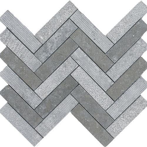 Limestone  Blue Lagos 1X4 Hi/Lo Herringbone Mosaic