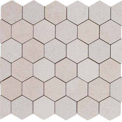 Limestone  Golden Beach 2X2 Hi/Lo Hexagon Mosaic