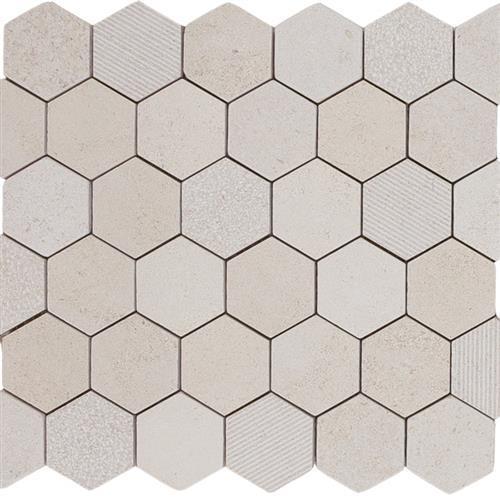 Limestone  Golden Beach 2X2 Hi/Lo Hexagon Mosaic