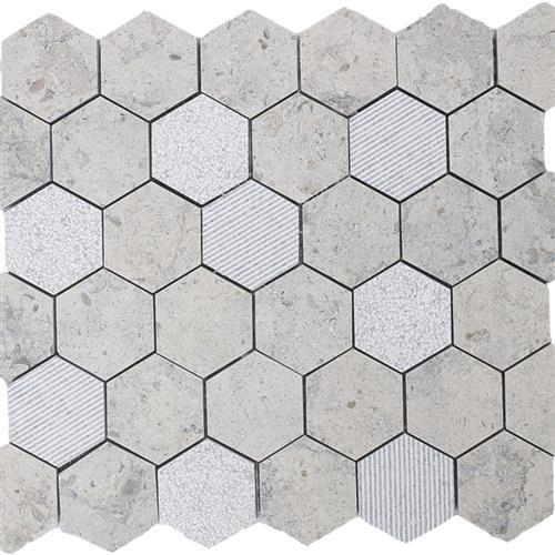 Limestone  Gascogne Blue 2X2 Hi/Lo Hexagon Mosaic