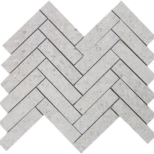 Limestone  Gascogne Blue 1X4 Suede Herringbone Mosaic