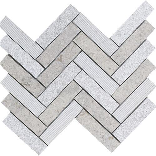 Limestone  Gascogne Blue 1X4 Hi/Lo Herringbone Mosaic