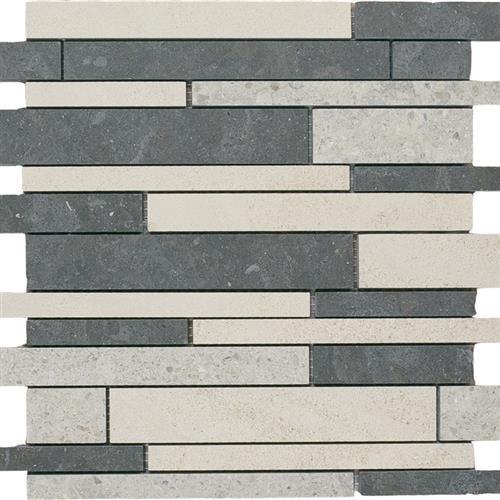 Limestone  Mixage 12X12 Suede Linear Mosaic