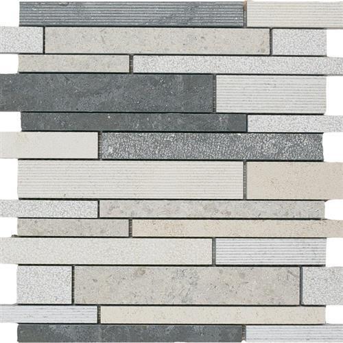Limestone  Mixage 12X12 Hi/Lo Linear Mosaic
