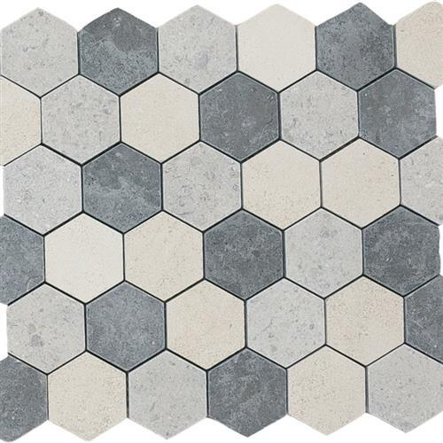 Limestone  Mixage 2X2 Suede Hexagon Mosaic