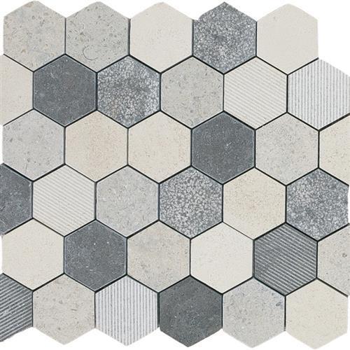 Limestone  Mixage 2X2 Hi/Lo Hexagon Mosaic