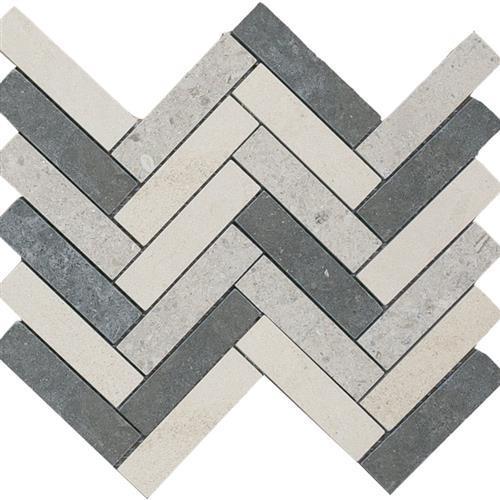 Limestone  Mixage 1X4 Suede Herringbone Mosaic