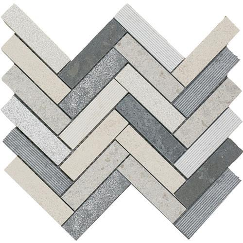 Limestone  Mixage 1X4 Hi/Lo Herringbone Mosaic