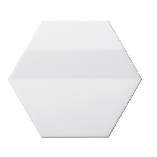 "White Hexagon 3d 6""x7"""