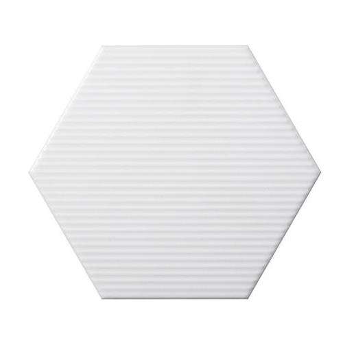 "White Hexagon Line 6""x7"""