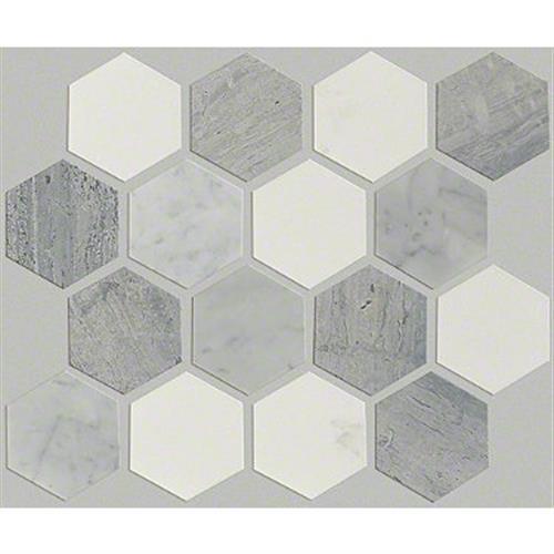 Chateau Hexagon Mosaic Bianco C Blue G Thas 00511