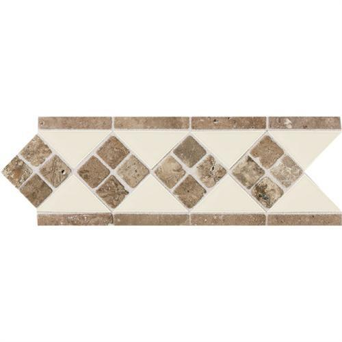 Designer Elegance Natural Stone Gloss Almond/Noce 4And X 12And Accent DE12
