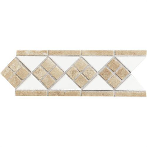 Designer Elegance Natural Stone Ice White/Travertine 4And X 12And Accent DE25