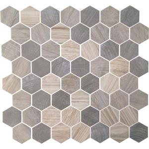 GlassTile Crosswood CR9615HEXSWATCH Pelican