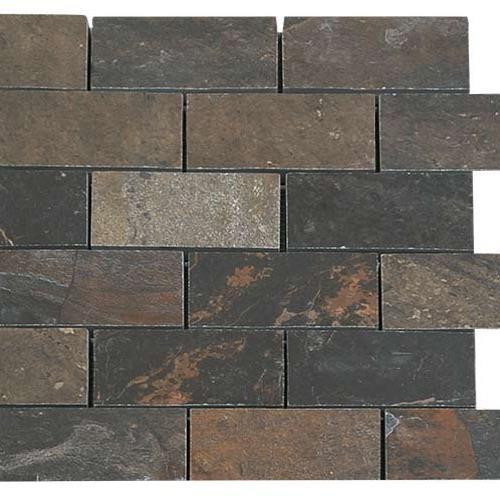 Natural Slate Multicolor - 12X12 Brick Mosaic 4487