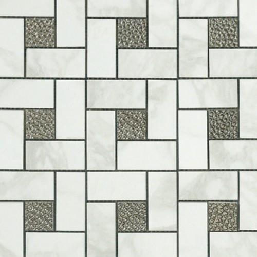 Calacatta Pinwheel Deco Mosaic Semi-Polished