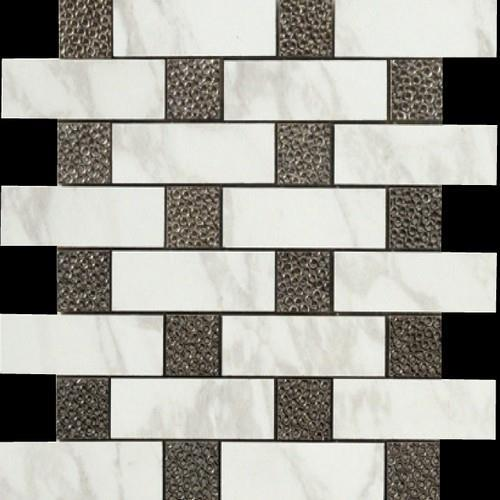 Calacatta Brick Deco Mosaic Semi-Polished