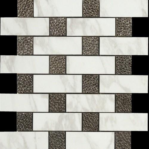 Calacatta Brick Deco Mosaic Semi-Polished