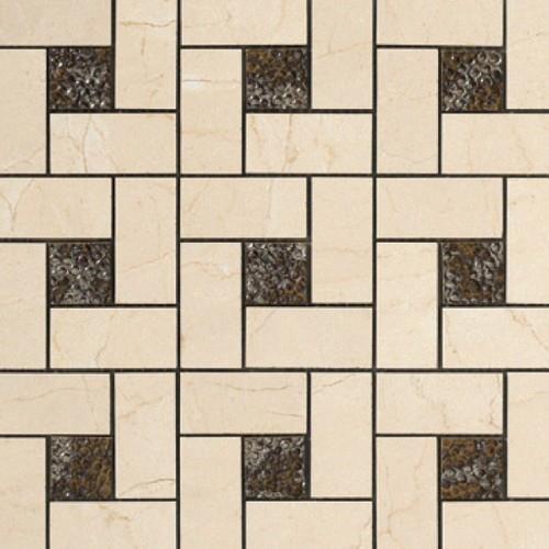 Crema Marfil Pinwheel Deco Mosaic Semi-Polished