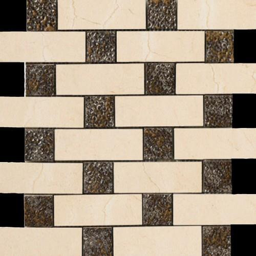 Crema Marfil Brick Deco Mosaic Semi-Polished