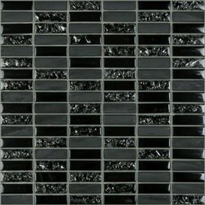 GlassTile Crackle Crackle-black Black18x6Mosaic