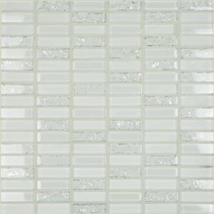 GlassTile Crackle Crackle-white White18x6Mosaic