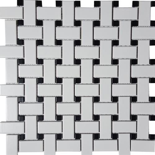 Black  White Basketweave Matte Mosaic
