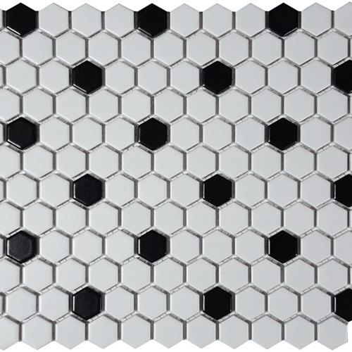 Black  White Hexagon Matte Mosaic