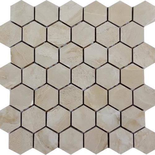 Marble Mirror Beige 2 Hexagon Mosaic