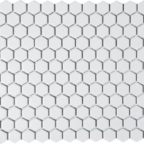 Solid White Hexagon Matte Mosaic