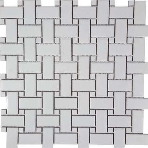 Solid White Basketweave Matte Mosaic