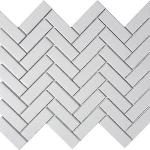 Solid White Herringbone Matte Mosaic