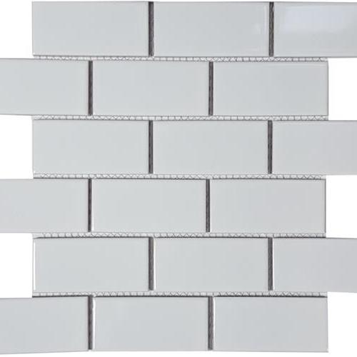 Solid White Staggered Glossy Mosaic