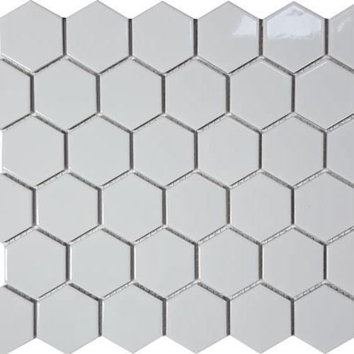 Solid White Hexagon Glossy Mosaic