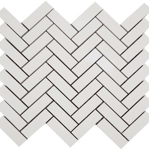 Super White Herringbone Mosaic