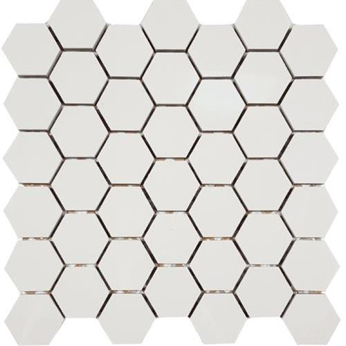 Super White Hexagon 2 Mosaic