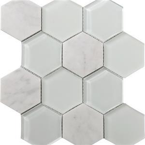 GlassTile MetropolitanStoneGlassBlend FOSSTGLCARRAGLHE Carrara-PolishedHex