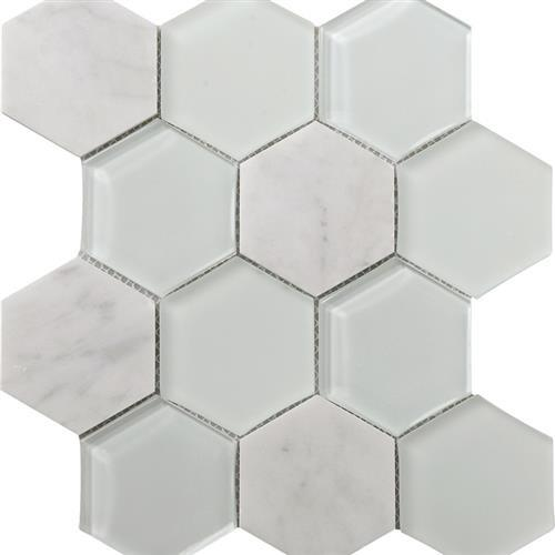 Metropolitan Stone  Glass Blend Carrara - Polished Hex