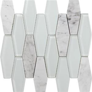 GlassTile MetropolitanStoneGlassBlend FOSSTGLCARRGLDIA Carrara-PolishedDiamond