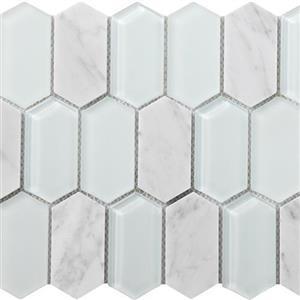 GlassTile MetropolitanStoneGlassBlend FOSSTGLCARRGLPIC Carrara-PolishedPicket